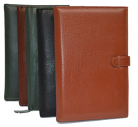 black, tan, green and camel leather journals